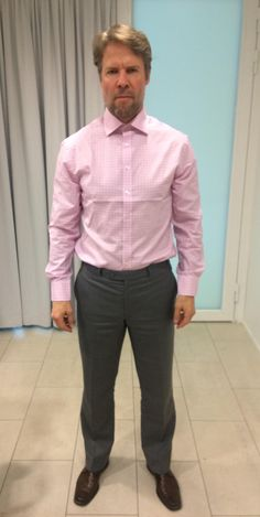 LGFG Fashion House client Jouni Weckström from Finland trying on his new bespoke shirt from our Paris line.
