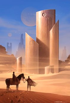 Love this, I'm getting dune vibes (although there's a horse not worms.) Anyone know the original artist?