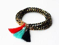 Beaded Boho Bracelet Friendship Bracelet Black by feltlikepaper