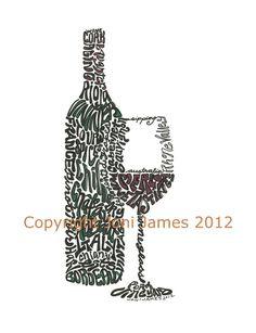 Word Art Typography Calligram: Wine Bottle and Glass by Joni James