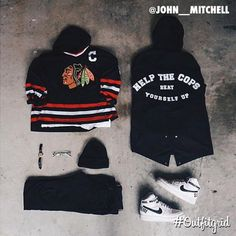 Today's top #outfitgrid is by @john__mitchell. ▫️#Blackhawks #Jersey ▫️#JohnElliottCo #Hoodie ▫️#AcneStudios #flatlay #flatlayapp #flatlays