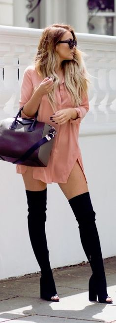 Shirt Dress by In The Style (get 10% off ITS with code: SARAH10) , Boots: Ego , Bag: Givenchy Sunglasses: Noughts & Kisses //Fashion Look by That Pommie Girl