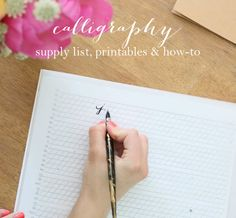 Everything you need to know to learn calligraphy - on your own! Get the must-have supply list, free printables  a step by step instructions