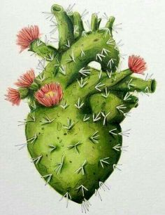 Ideas For Flowers Illustration Cactus Inspiration Art, Art Inspo, Illustration Art, Illustrations, Cactus Art, Cactus Painting, Heart Painting, Anatomy Art, Mexican Art