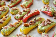 Guacamole Bacon Stuffed Pepper Poppers 1 lb sweet baby peppers 2 ripe Haas avocados 1 lime, juiced handful cilantro, chopped 1 t chili garlic or hot sauce salt, to taste 8 oz bacon, chopped & crisped up Healthy Low Carb Recipes, Primal Recipes, Whole Food Recipes, Healthy Snacks, Diabetic Snacks, Savory Snacks, Healthy Tips, Paleo Appetizers, Appetizer Recipes
