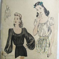 Vintage 40s Peasant Blouse Pattern Vogue 9872 Long Full Bishop Sleeves or Short Puff Sleeves 1940s Easy To Make Bust 38