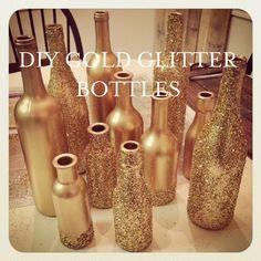 DIY Gold Glitter Bottles tutorial by Liberty Party Rental. would do silver instead Glitter Centerpieces, Gold Wedding Decorations, Wedding Centerpieces, Table Centerpieces, Table Decorations, Beer Bottle Centerpieces, Glitter Party Decorations, Wedding Arrangements, Centerpiece Ideas