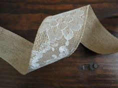 2.5 inch Burlap Lace RibbonRustic Wedding by WhimsyChicDesigns