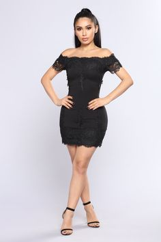 Lace Story Dress - Black