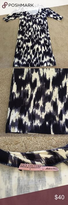 JUICY COUTURE PATTERNED DRESS PERFECT CONDITION!! super cute blue and white patterned dress. Cotton material is soft and comfortable while still looking nice for work!! 3 quarter sleeve make is prefect for any occasion!! Juicy Couture Dresses Long Sleeve