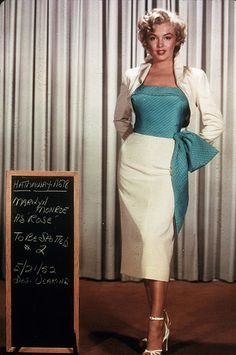 "Marilyn Monroe wardrobe test for ""Niagara""1950s fashion"