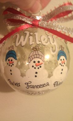 Let me capture your family on a beautiful handpainted ornament! This ornament can be personalized from 2 to 5 snowmen. It can say Merry Christmas