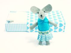 Blue Felt mouse in match box bed by atelierpompadour on Etsy, €19.00