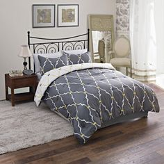 Modern Geo Bedding Comforter Set, reversable in gray or white with yellow details | via Walmart.com, $39.88
