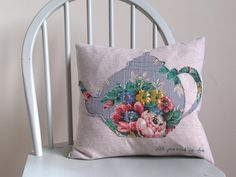All You Need Is Tea Cushion / Pillow Cover   by KittysHomemade, £18.00