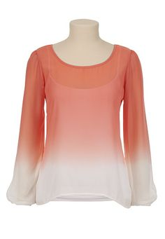 Ombre Chiffon Scoop Neck Top available at #Maurices