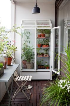 Balcony garden w terrarium style cabinet. Charming.  Simple and charming :)