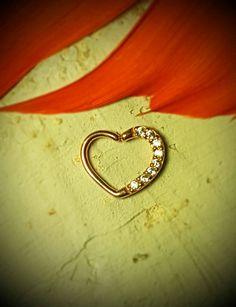 Rose Gold Seamless Heart Encrusted Swarovski by ABodyJewelry