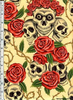 Alexander Henry Skull Fabric - The Rose Tattoo (Skulls and Roses) in Tea - One Yard - Awesome Skulls Tattoo Prices, Skull Fabric, Alexander Henry Fabrics, Skulls And Roses, Dog Items, Art Gallery Fabrics, Cushion Fabric, Large Prints, Black Tattoos