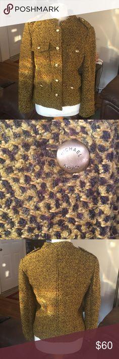 Michael Kors coat Tweed Michael Kors coat with gold emblem buttons super cute in great condition KORS Michael Kors Jackets & Coats