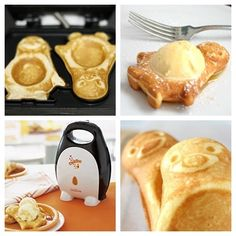 Sunbeam Woddles waffle maker!!! Waffles in the shape of penguins with a built in spot for ice cream!!!