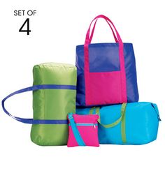 Colorful Travel Bag Set-  lightweight for travel, folds for storage. Polyester. Set includes: roll duffle, tote, duffle, and cross-body. Shop online at tashina.avonrepresentative.com
