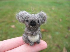 Needle Felted Koala Bear Miniature Figure.