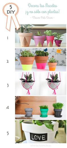 Fácil y Sencillo: DIY - 5 Ideas para Decorar tus Macetas / Flower Pots Decor