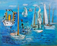 Raoul Dufy - Bateaux Pavoises, oil on canvas, 1946 Raoul Dufy, Georges Braque, Inspiration Art, Henri Matisse, French Artists, Kandinsky, Van Gogh, Monet, Art History