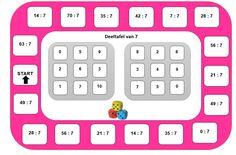 Ganzenbord gecombineerd met bingo: De leerlingen spelen per 2, hebben een dobbelsteen en 2 pionnen nodig. Om beurten rollen ze met de dobbelsteen, zetten het aantal stappen. Ze komen op een oefening, ze lossen deze oefening luidop op en kijken in hun vakje of ze dat getal hebben. Ja, dan leggen ze een knoopje op dat getal. Wanneer ze een rij vol hebben is het bingo. TOEPASSING 1: De maaltafels inoefenen (bv. de maaltafel van 7) - Tip: je kan de kleur van het ganzenbord aanpassen aan de… Bingo, Maths, School, Kids, Young Children, Boys, Children, Boy Babies, Child