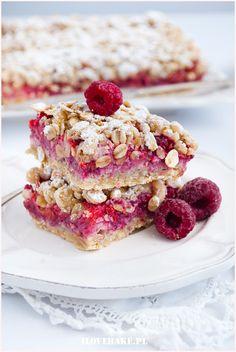 Shortbread oatmeal with raspberries - I Love Bake Sugar Free Recipes, Sweet Recipes, Cake Recipes, Dessert Recipes, Diet Desserts, Healthy Desserts, Delicious Desserts, Good Food, Yummy Food