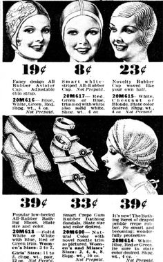 1934 swim caps and bathing sandals. ~ Boy, have prices changed, AND, if someone has some of these same items now, they will be charge a thousand dollars for something that originally cost under 50 cents!!