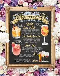 Digital Printable Wedding Bar Menu Sign, His and Hers Signature Drinks Cocktails Watercolor C. Digital Printable Wedding Bar Menu Sign, His and Hers Signature Drinks Cocktails Watercolor Chalkboard Party Christmas New Year Chalkboard Wedding, Menu Wedding, Chalkboard Bar, Wedding Catering, Wedding Signs, Wedding Ideas, Open Bar Wedding, Chalkboard Printable, Wedding Reception