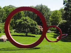Zhu Jinshi sculpture, Rings  2005  in Perry Garden in North Haven photo by Erika Shank