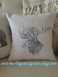 Moose or Bear  Pillow Cover, Cushion, Rustic, Decorative Throw Pillow, Log Cabin, Woodlands, Accent Pillow, Black and Beige, 12x12 on Etsy, $22.00