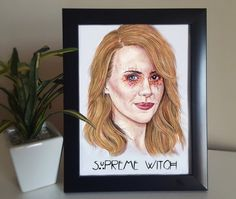Prints available in various sizes, portrait of Sarah Paulson / Cordelia Foxx from the popular tv series American Horror Story  Originally done…