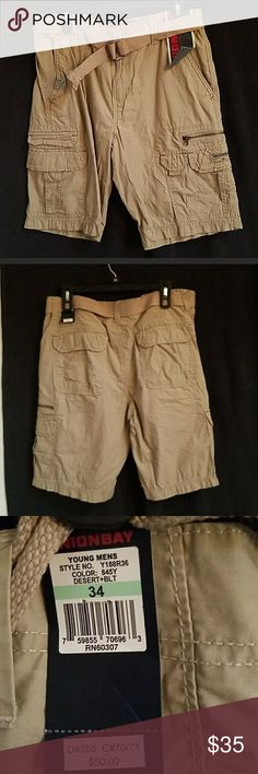 NWT 🧢 UNION BAY KHAKI CARGO SHORTS Men's W34 New with tags! Tan khaki cargo shorts with belt by UNION BAY. Men's W34. Purchased for my son for Christmas and he doesn't like them. Too late to return!   🤗 I ACCEPT REASONABLE OFFERS & OFFER BUNDLE DISCOUNT ON 3+ ITEMS! 🙂 UNIONBAY Shorts Cargo