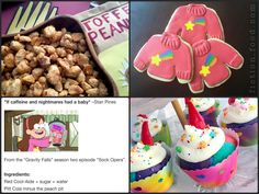 """Gravity Falls Party Food Ideas• Toffee Peanuts (A younger Grunkle Stanley's snack of choice! Recipe here) • Pitcher of Cool-aid mixed drink (for """"Mabel Juice"""". Recipe here. Try-at-your-own-risk!) •..."""