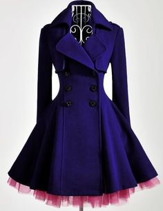 Elegant Gothic Double Breasted Gauze Trimming Purple Coat            Share on twitter Share on google_plusone                       Woolen Coat  Dark Purple  Above Knee Length  Gauze Trimming     Our Price: $169.00      SKU: CR01681