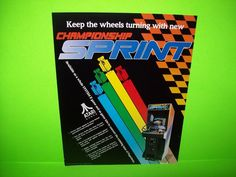 Atari CHAMPIONSHIP SPRINT Original 1986 Video Arcade Game Promo Sales Flyer  #Atari