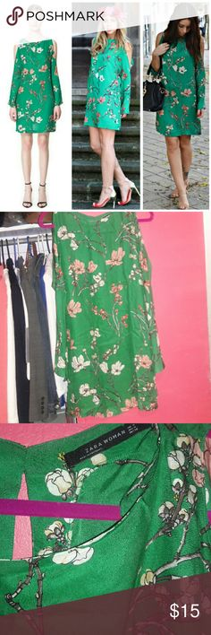 ZARA Green Floral Dress Green floral dress. Great condition! Long sleeve with cutouts. Zara Dresses