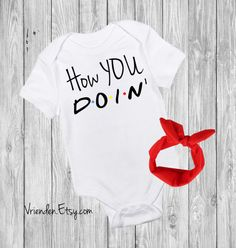 How YOU Doin F.R.I.E.N.D.S inspired baby bodysuit; joey doesn't share food, i'll be there for you, could i be any cuter, Clothing Unisex Kids' Clothing Bodysuits unagi friends obsession best friends friends tv show central perk chandler bing smelly cat pivot crap bag princess consuela banana hammock no new friends baby shower idea funny onesie