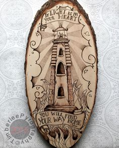 This tattoo style lighthouse and quote will be hand drawn and then wood burned onto a natural Bass wood tree slice.  **It is a limited