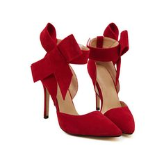 SheIn(sheinside) Red With Bow Slingbacks High Heeled Pumps (57 BAM) via Polyvore featuring shoes, pumps, heels, chaussures, high heels, red, red stilettos, red pumps, bow pumps i red pointed-toe pumps