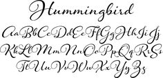 Hummingbird Font - Hummingbird is reminiscent of old-fashioned cursive penmanship, the sort learned by endless repetition and found in treasured letters bundled together by silken ribbons or in worn leather-bound ledgers.