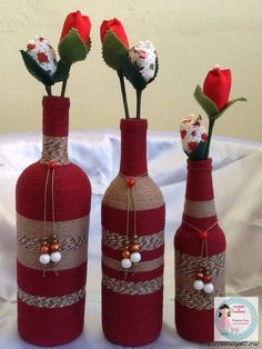 Декор бутылок. Шпагат, мешковина, кружева... Идеи.