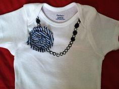 Baby Girl Onesie Bodysuit Navy & Cream Stripe by PinkGingerDesign, $15.00