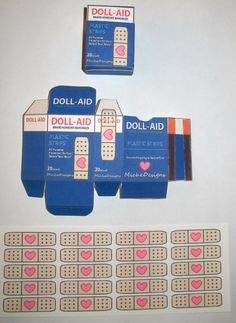 """Realistic Doll Bandaids For American Girl And 18"""" Dolls Doll Crafts, Diy Doll, Paper Toys, Paper Crafts, Cute Car Accessories, Doll Food, Realistic Dolls, Ag Dolls, Minis"""