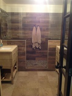 Ceramic Wood Tile Shower Bath 29 Ideas For 2019 Modern Bathroom Tile, Bathroom Tile Designs, Rustic Bathrooms, Wood Bathroom, Bathroom Layout, Bathroom Ideas, Shower Designs, Bathroom Shelves, Bath Ideas