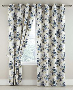 Camilla Floral Thermal Blackout Ring Top Curtains Pair